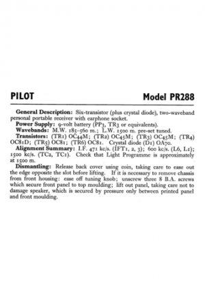 Pilot PR288 Service Schematics. Mauritron #892