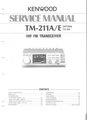 Kenwood TM211A Service Manual. Mauritron #1257