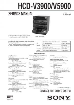 Sony HCD-V3900 Service Manual. Mauritron #1472