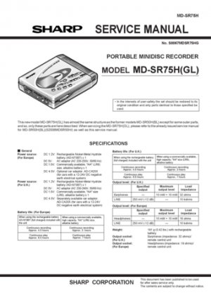 Sharp MDSR75 Service Manual. Mauritron #1892