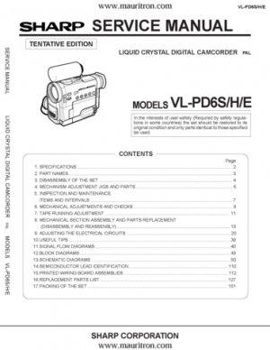Sharp VLPD6 Service Manual. Mauritron #2086