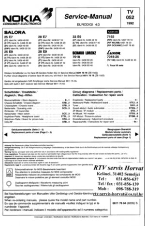 Salora 25E9 Service Manual. Mauritron #2167