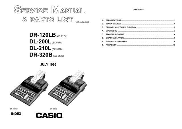 Casio DR120LB Service Manual Mauritron #2317