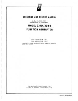 HP 3310B Service Manual Mauritron #2462