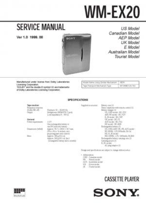 Sony WMEX20 Service Manual. Mauritron #3368