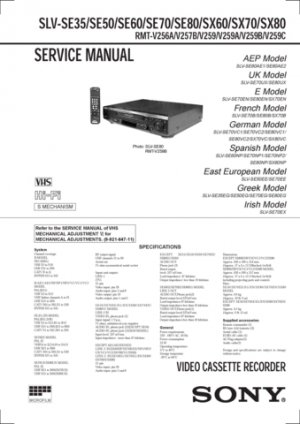 Sony SLVSE70 Service Manual. Mauritron #3644