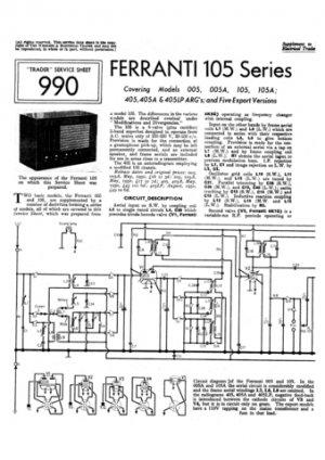 Ferranti 405LP Service Schematics. Mauritron #3747