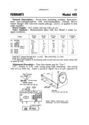 Ferranti 445 Service Schematics. Mauritron #3752