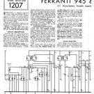 Ferranti 945 Service Schematics. Mauritron #3801
