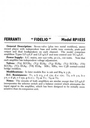 Ferranti RP1035 Service Schematics. Mauritron #3824