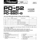Pioneer PD52 Service Manual. Mauritron #3978