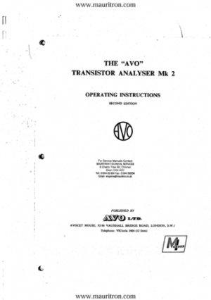 AVO Mk 2 Transistor Analyser Operating Instructions