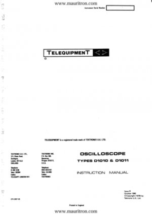 Telequipment D1011 Service Manual Schematics