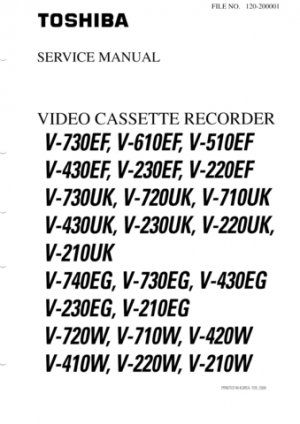 Toshiba V230UK  V-230UK Video Recorder Service Manual