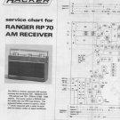 Hacker Ranger RP70 (RP-70) Radio Service Sheets Set including Schematics Circuits