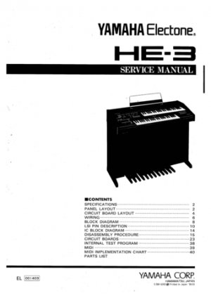 Yamaha HE3 (HE-3) Electone Keyboard Service Manual