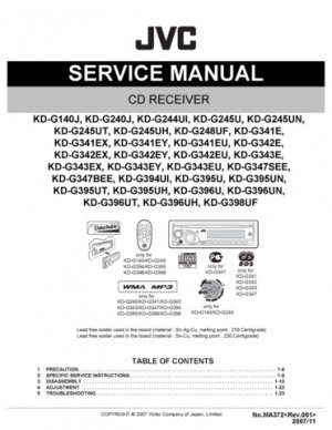 Yamaha KDG341EX (KDG-341EX) (KD-G341EX) CD Receiver Service Manual