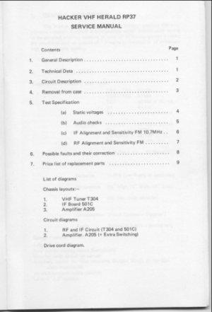 Hacker RP37 Herald Service Manual Schematics