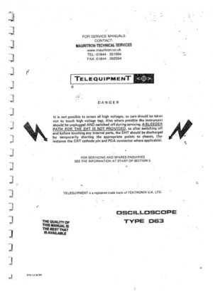 Telequipment D63 (D-63) Oscilloscope Instructions covers Service Schematics etc and Operating