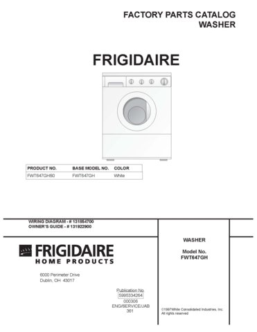 frigidaire washer repair manual pdf