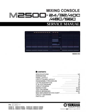 Yamaha M2500-24 (M-2500-24) Mixing Console Service Manual