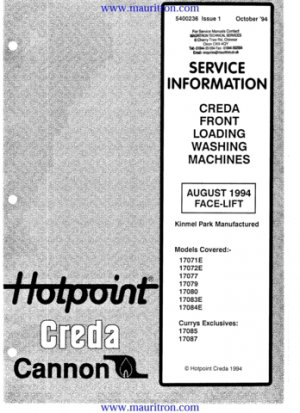 Creda 17077 Wahsing Machine Service Manual
