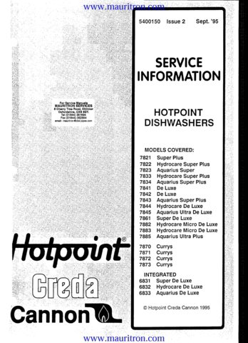 Hotpoint 7822 Hydrocare Super Plus Dishwasher Service Manual