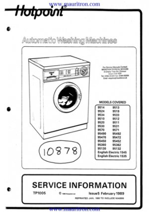 Hotpoint 95130 Washing Machine Workshop Service Manual