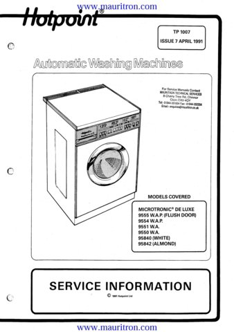 hotpoint washing machine service manual free download