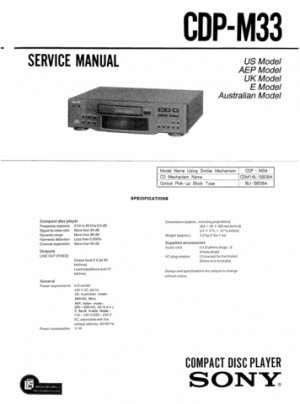 Sony CDPM33 (CDP-M33) (CDPM-33) CD Player Service Manual