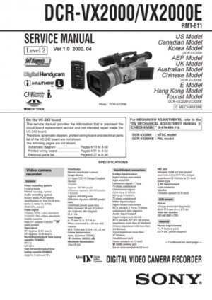 Sony DCRVX2000 (DCR-VX2000) (DCRVX-2000) Camcorder Service Manual