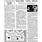 Walter Sound Cadet TAPE Service Sheets Schematic Set