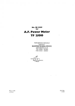Marconi TF2500 (TF-2500) Power Meter Instructions Schematics etc and Operating