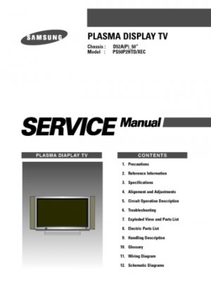 Samsung D52A(P) (D-52A(P)) 50 Inch Television Service Manual