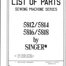 Singer 5816 Sewing Machine Parts Lists and Exploded Views etc