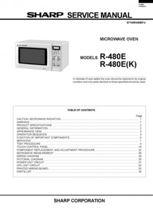 Sharp R4A52 (R-4A52) Microwave Oven Service Manual