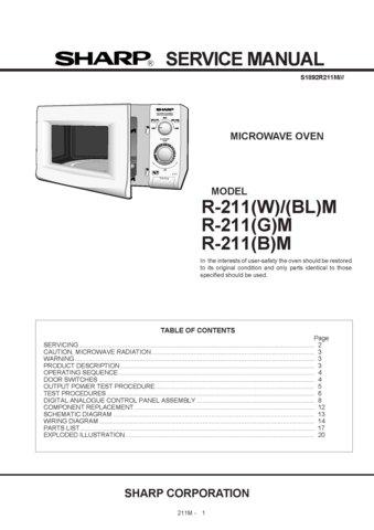 Sharp R211 R 211 W Bl G B M Microwave Oven Work Service Manual