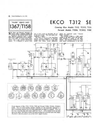 Ekco T330 (T330) Television Service Sheets Schematics etc