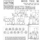 Ekco TC313 (TC-313) Television Service Sheets Schematics etc