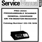Realistic PRO2004 (PRO-2004) Scanner Service Manual