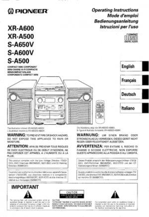 Pioneer SA600V (S-A600V) (SA-600V) Service Manual