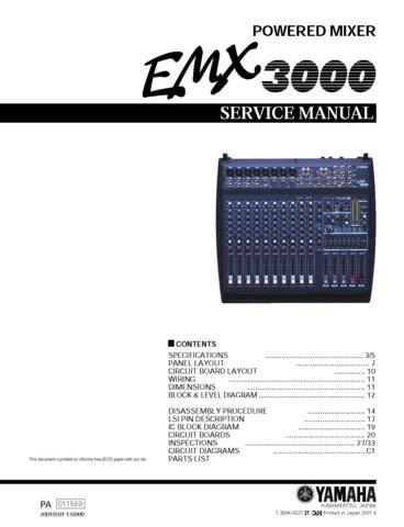 yamaha emx3000 emx 3000 mixer service manual with schematics