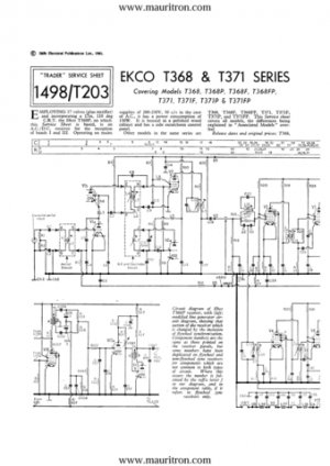 Ekco T371F (T-371F) Vintage Television Service Manual