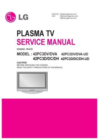 LG 42PC3DV-DVA-UD Technical Repair Schematics Circuits Service Manual