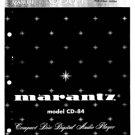 Marantz CD84 (CD-84) CD Player Service Manual Repair Schematics Circuits