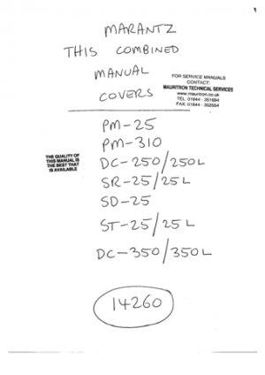Marantz SR25 (SR-25) L Service Manual Repair Schematics Circuits