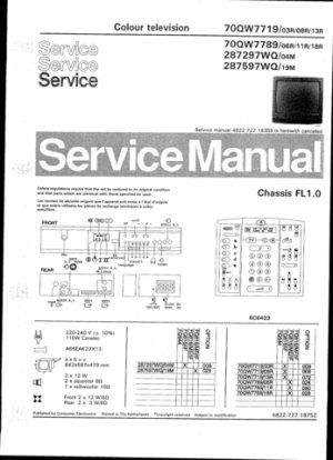 Philips 287597WQ 19M Technical Repair Schematics Circuits Service Manual