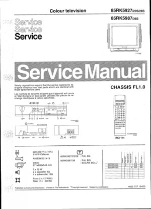 Philips 85RK5987 38S Technical Repair Schematics Circuits Service Manual