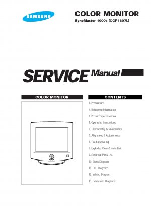 Samsung SyncMaster 1000s Technical Repair Schematics Circuits Service Manual