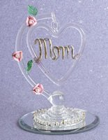 Glass Hanging Heart Mom